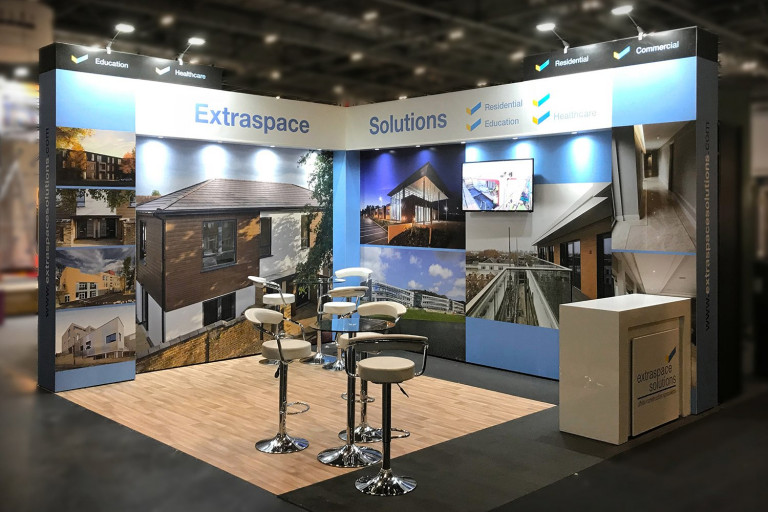 Modular exhibition stand for Extra Space Solutions